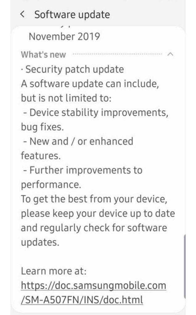 a50s update samsung